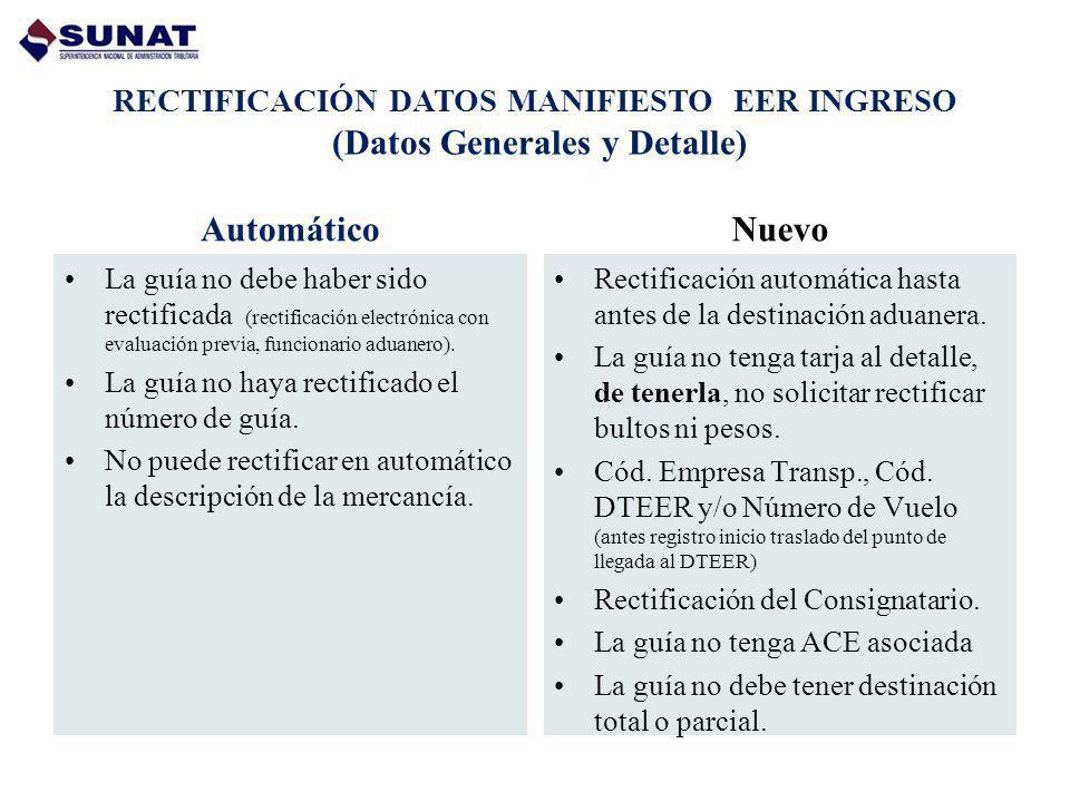 RECTIFICACIÓN DATOS MANIFIESTO EER INGRESO (Datos Generales y Detalle)