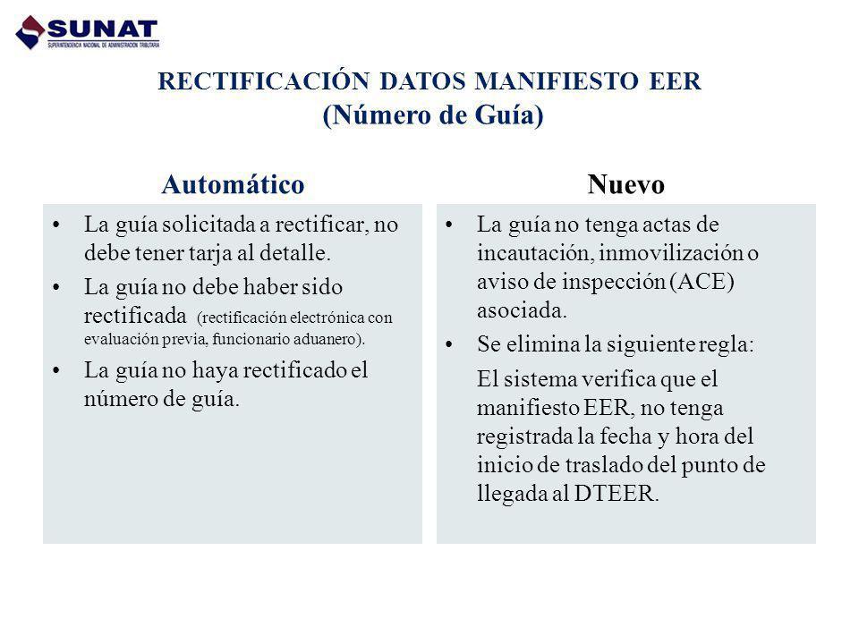 RECTIFICACIÓN DATOS MANIFIESTO EER