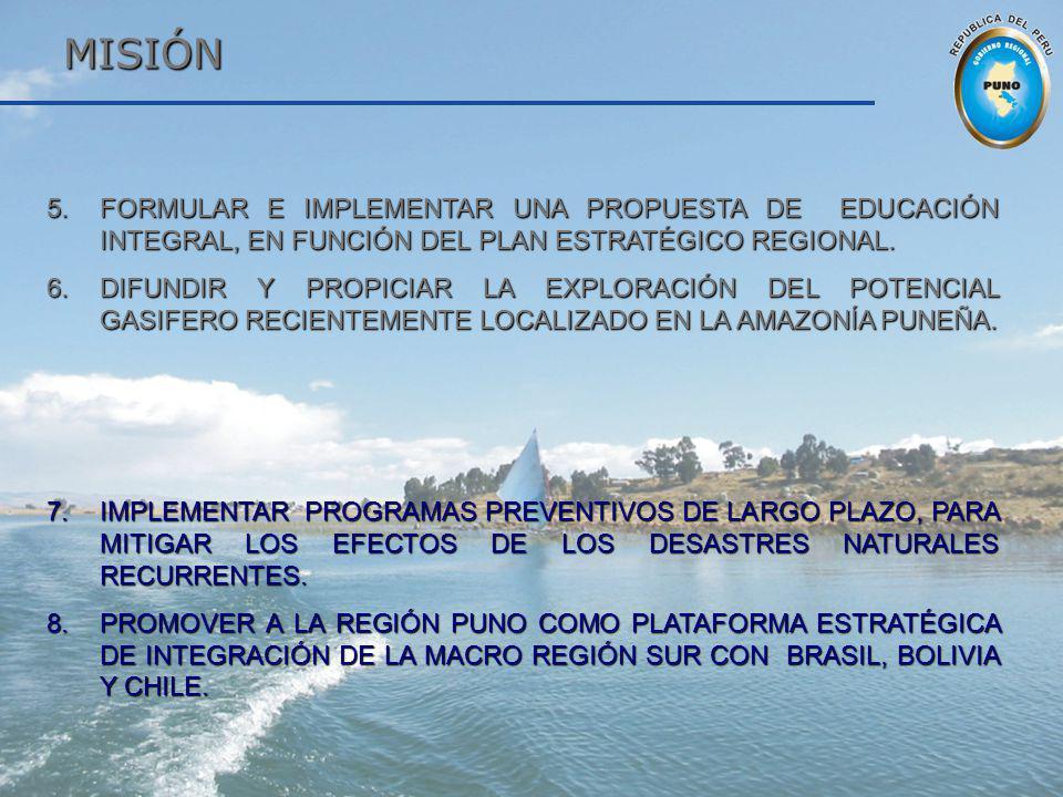MISIÓN FORMULAR E IMPLEMENTAR UNA PROPUESTA DE EDUCACIÓN INTEGRAL, EN FUNCIÓN DEL PLAN ESTRATÉGICO REGIONAL.