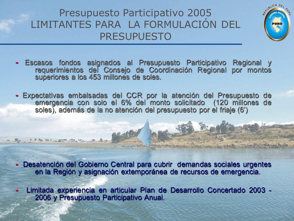Presupuesto Participativo 2005 LIMITANTES PARA LA FORMULACIÓN DEL PRESUPUESTO