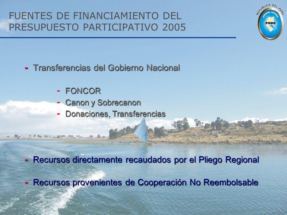 FUENTES DE FINANCIAMIENTO DEL PRESUPUESTO PARTICIPATIVO 2005
