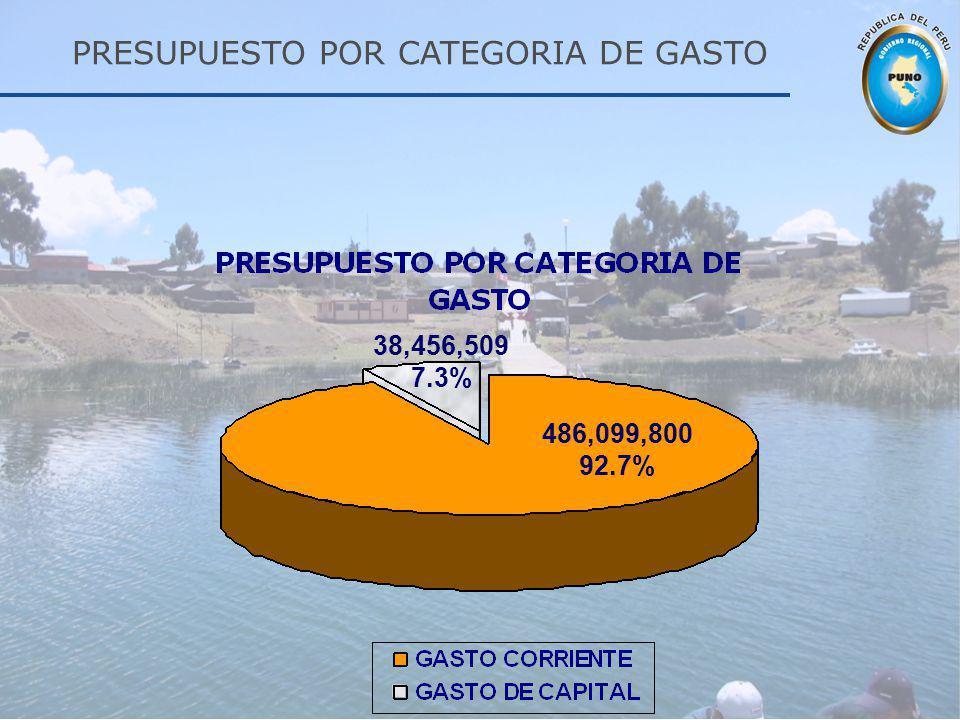 PRESUPUESTO POR CATEGORIA DE GASTO
