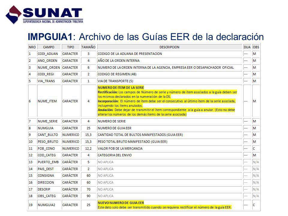 IMPGUIA1: Archivo de las Guías EER de la declaración