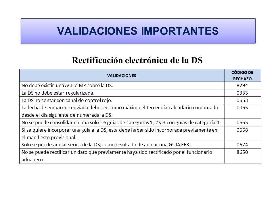VALIDACIONES IMPORTANTES