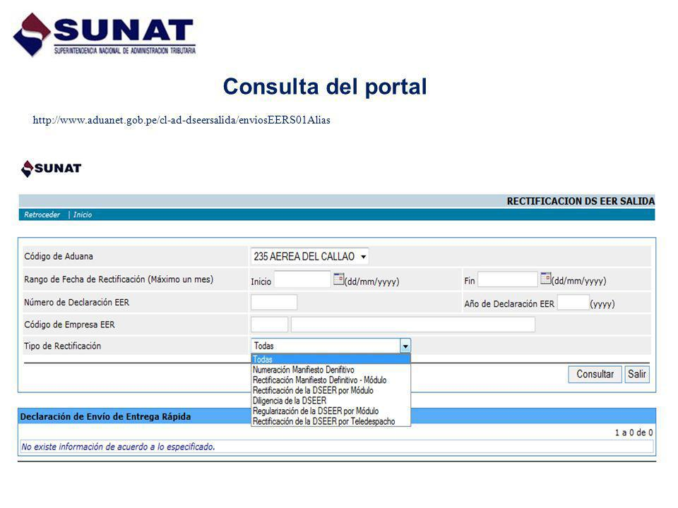 Consulta del portal http://www.aduanet.gob.pe/cl-ad-dseersalida/enviosEERS01Alias
