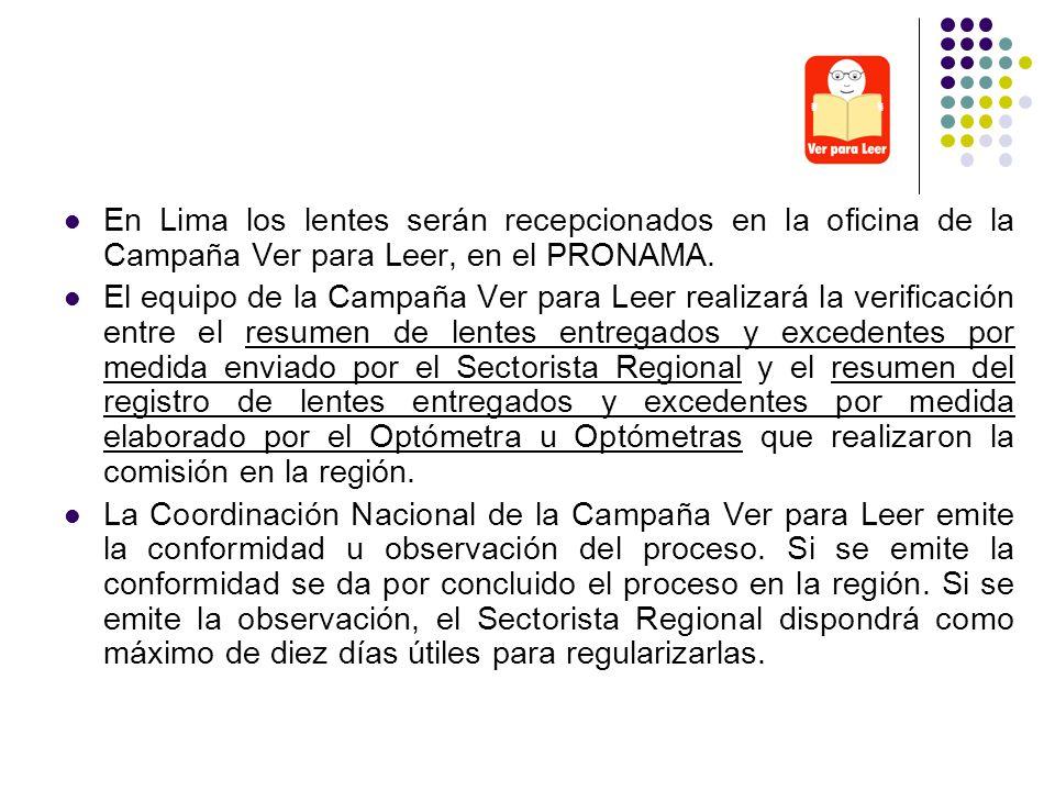 En Lima los lentes serán recepcionados en la oficina de la Campaña Ver para Leer, en el PRONAMA.