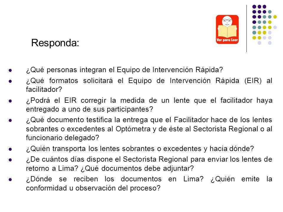 Responda: ¿Qué personas integran el Equipo de Intervención Rápida
