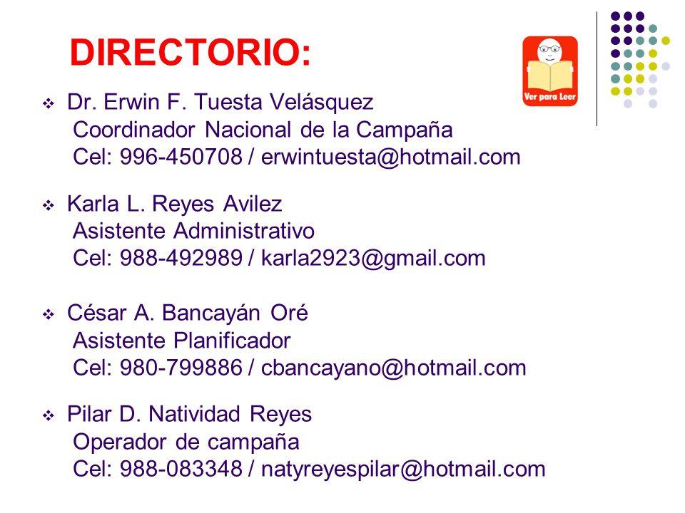 DIRECTORIO: Dr. Erwin F. Tuesta Velásquez