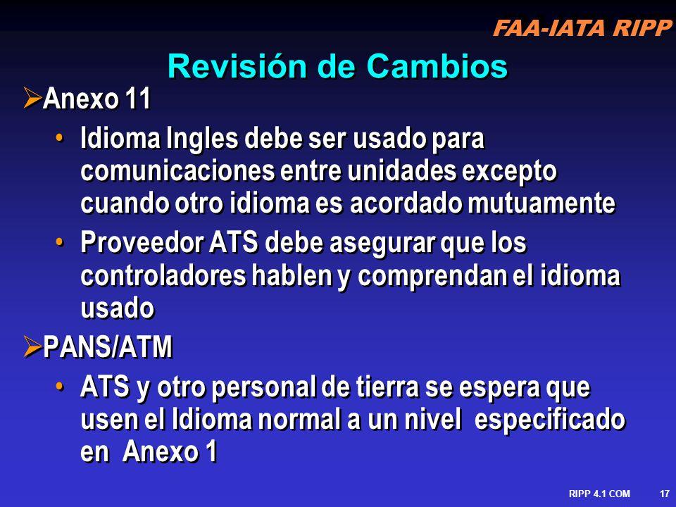 Revisión de Cambios Anexo 11