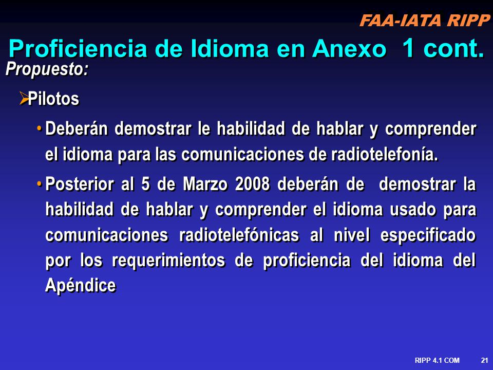 Proficiencia de Idioma en Anexo 1 cont.