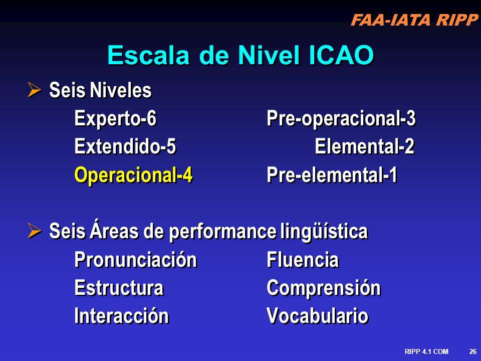 Escala de Nivel ICAO Seis Niveles Experto-6 Pre-operacional-3