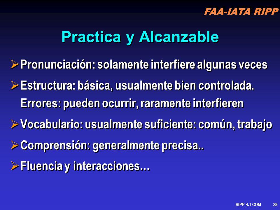Practica y Alcanzable Pronunciación: solamente interfiere algunas veces.