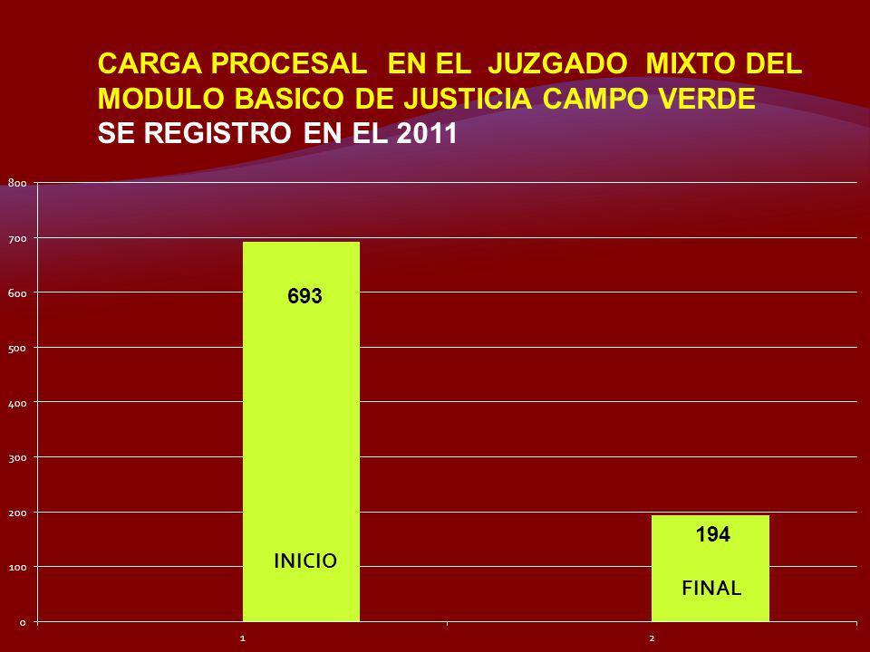 CARGA PROCESAL EN EL JUZGADO MIXTO DEL MODULO BASICO DE JUSTICIA CAMPO VERDE