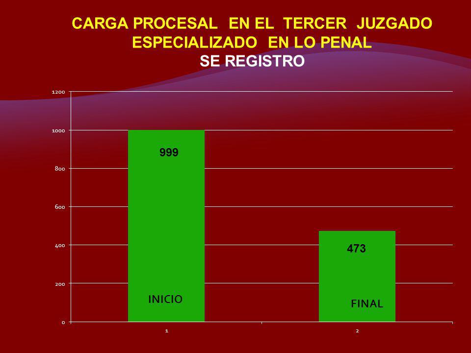 CARGA PROCESAL EN EL TERCER JUZGADO ESPECIALIZADO EN LO PENAL