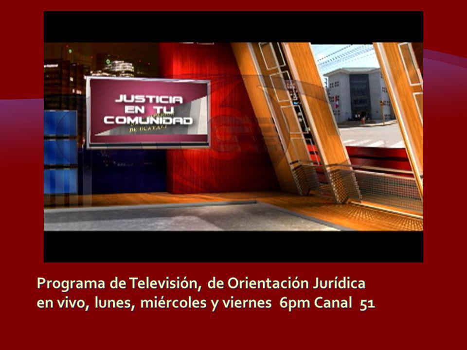 Programa de Televisión, de Orientación Jurídica en vivo, lunes, miércoles y viernes 6pm Canal 51