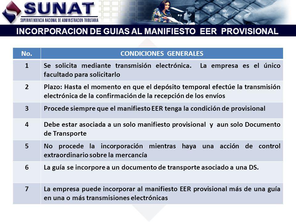 INCORPORACION DE GUIAS AL MANIFIESTO EER PROVISIONAL