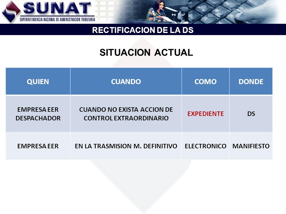 SITUACION ACTUAL RECTIFICACION DE LA DS QUIEN CUANDO COMO DONDE