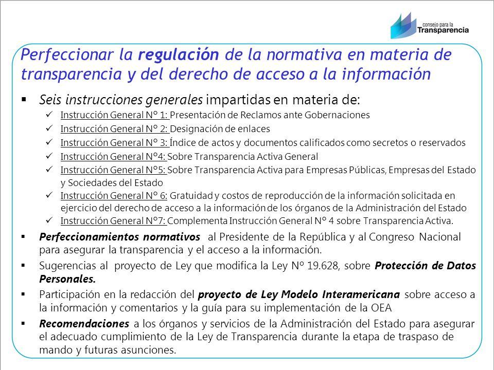 Perfeccionar la regulación de la normativa en materia de transparencia y del derecho de acceso a la información