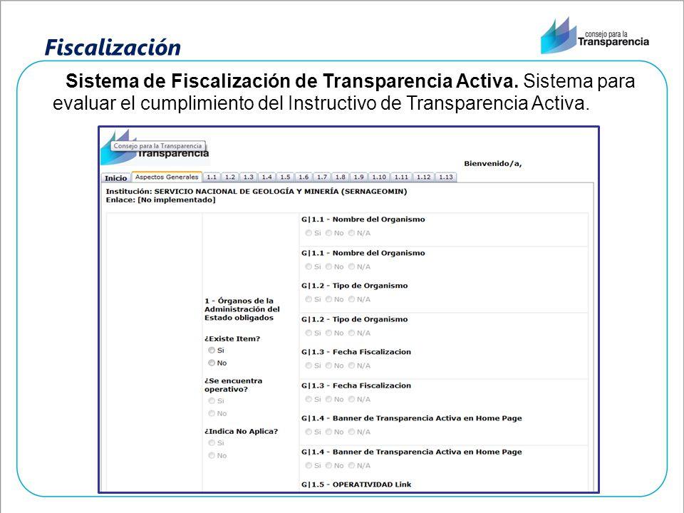 Fiscalización Sistema de Fiscalización de Transparencia Activa. Sistema para evaluar el cumplimiento del Instructivo de Transparencia Activa.