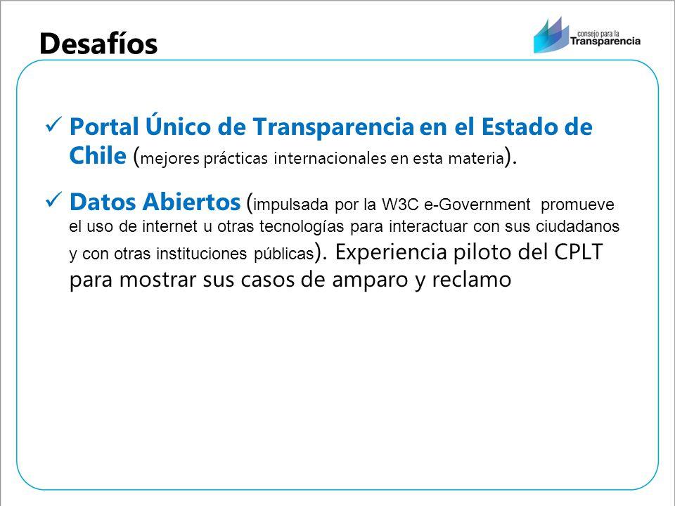 Desafíos Portal Único de Transparencia en el Estado de Chile (mejores prácticas internacionales en esta materia).