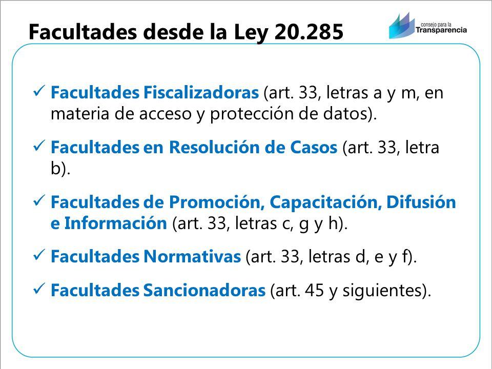 Facultades desde la Ley 20.285