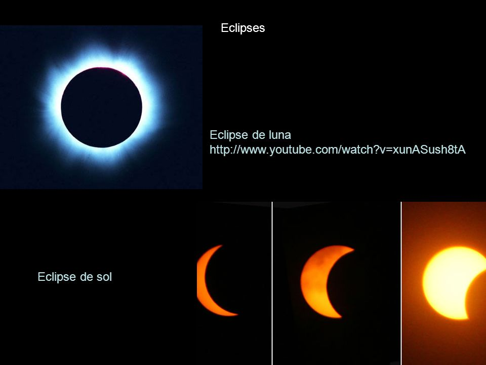 Eclipses Eclipse de luna http://www.youtube.com/watch v=xunASush8tA Eclipse de sol