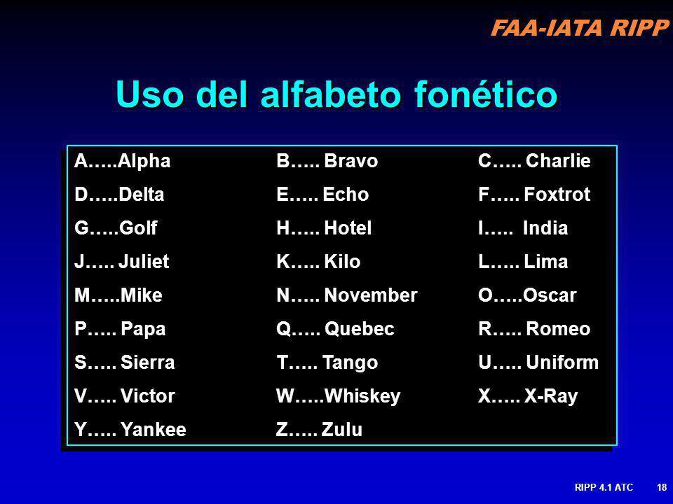 Uso del alfabeto fonético