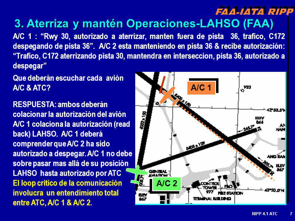 3. Aterriza y mantén Operaciones-LAHSO (FAA)