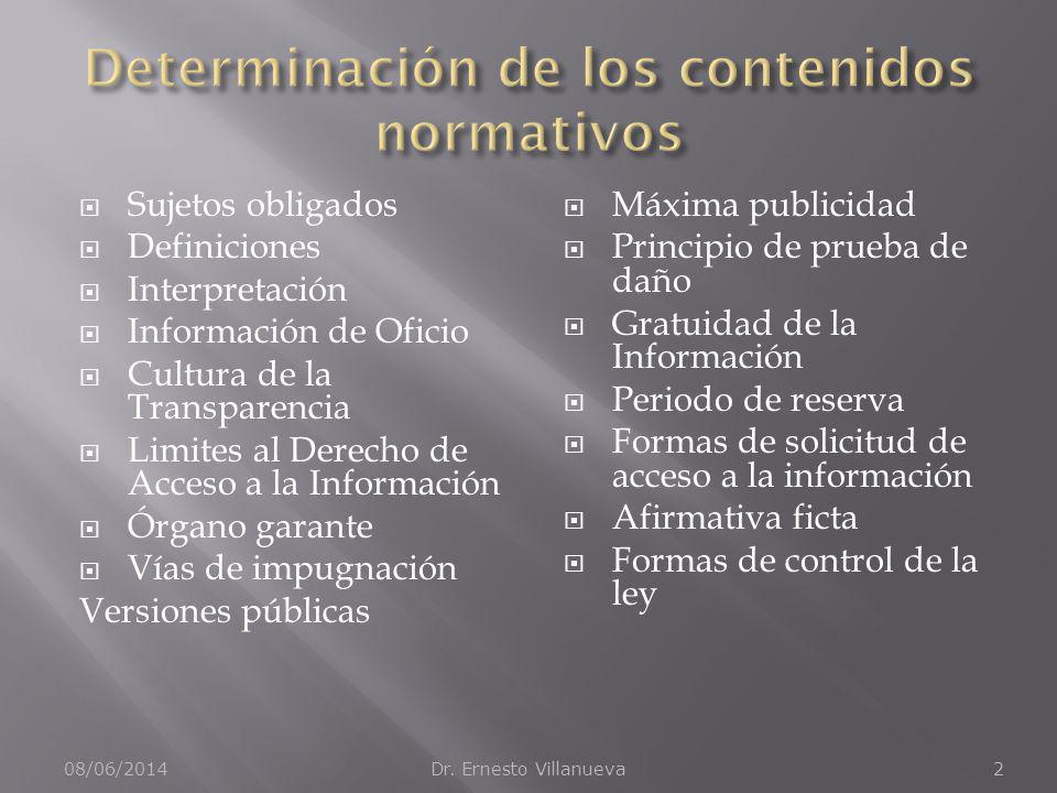 Determinación de los contenidos normativos