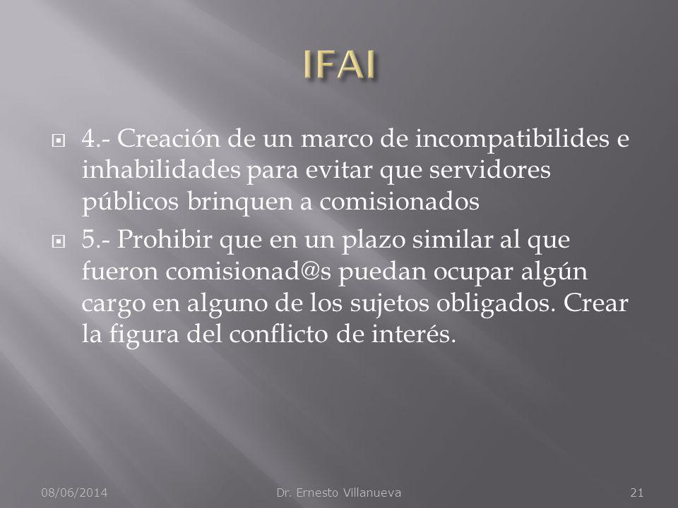 IFAI 4.- Creación de un marco de incompatibilides e inhabilidades para evitar que servidores públicos brinquen a comisionados.