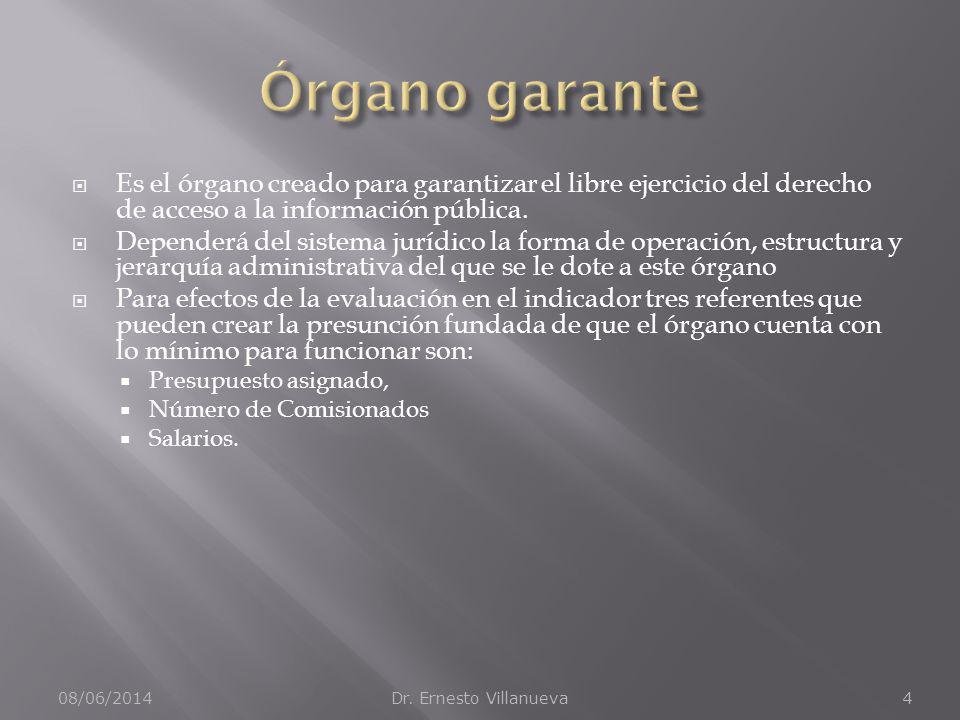 Órgano garante Es el órgano creado para garantizar el libre ejercicio del derecho de acceso a la información pública.