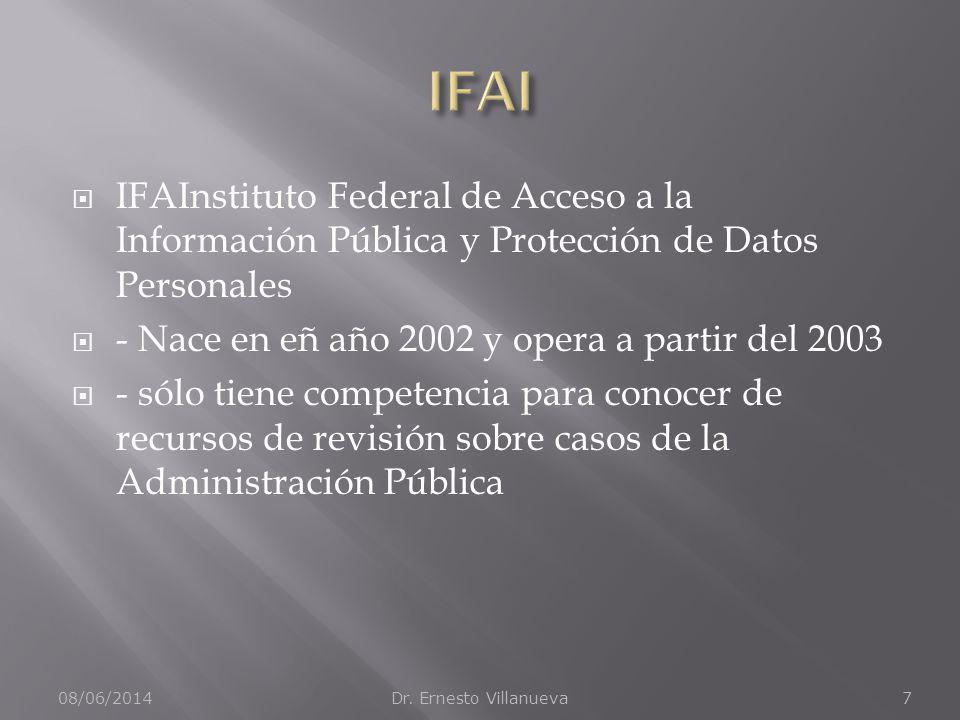IFAI IFAInstituto Federal de Acceso a la Información Pública y Protección de Datos Personales. - Nace en eñ año 2002 y opera a partir del 2003.