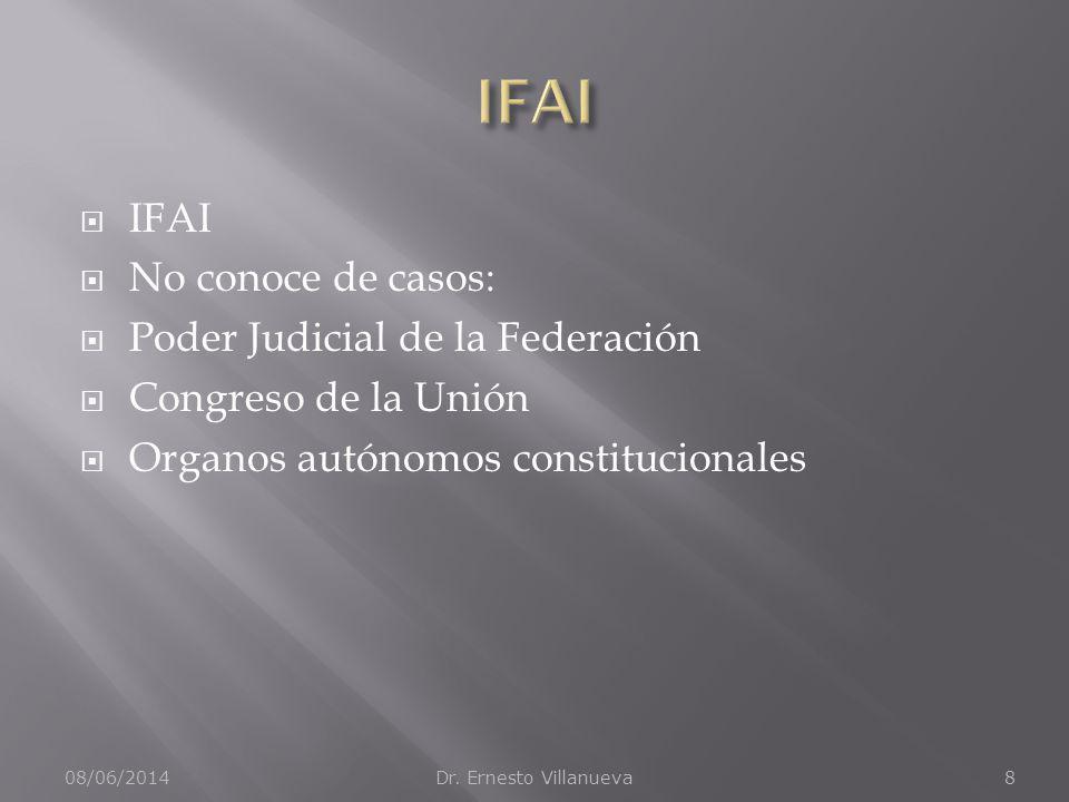 IFAI IFAI No conoce de casos: Poder Judicial de la Federación