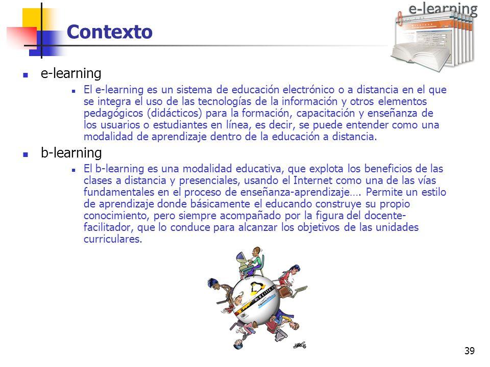 Contexto e-learning b-learning