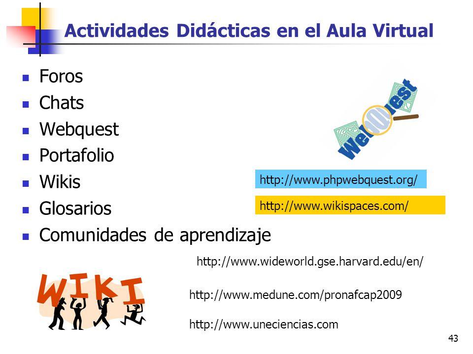 Actividades Didácticas en el Aula Virtual