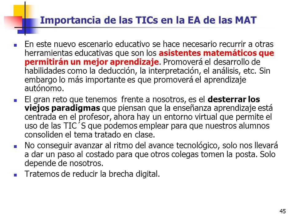 Importancia de las TICs en la EA de las MAT