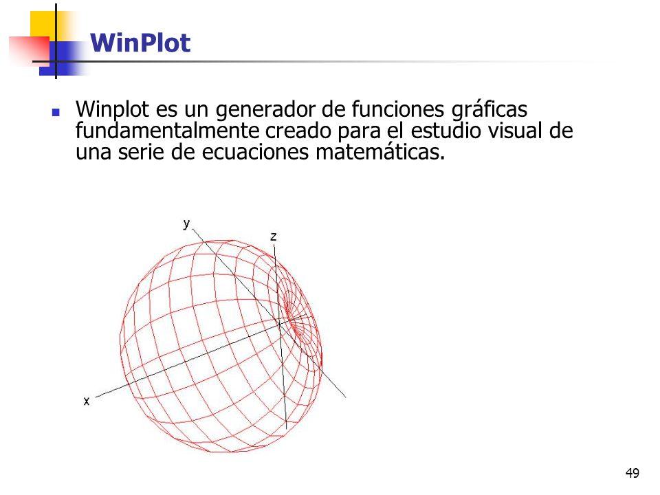 WinPlot Winplot es un generador de funciones gráficas fundamentalmente creado para el estudio visual de una serie de ecuaciones matemáticas.