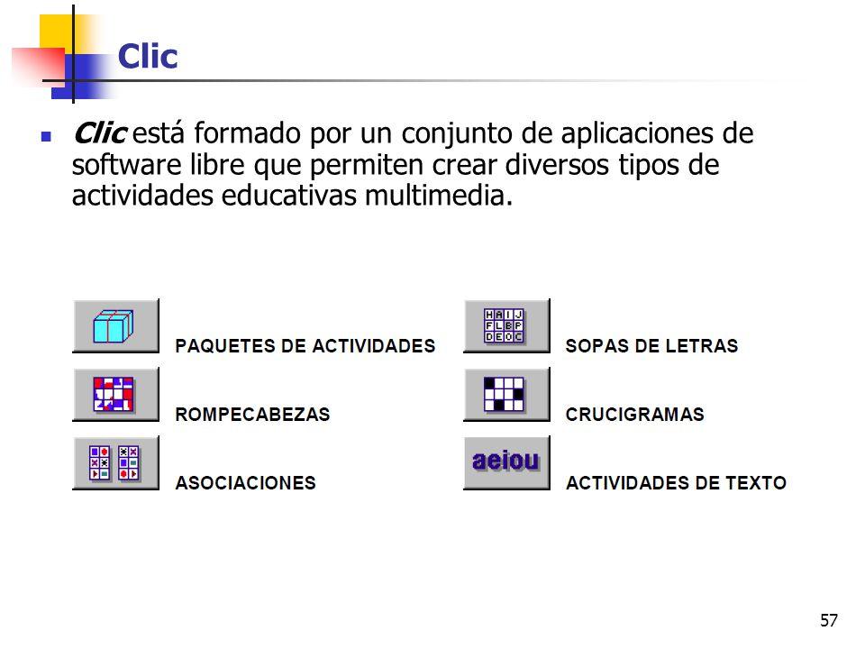 Clic Clic está formado por un conjunto de aplicaciones de software libre que permiten crear diversos tipos de actividades educativas multimedia.
