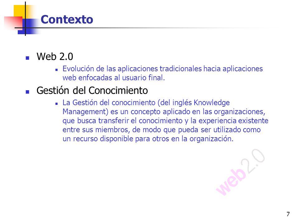 Contexto Web 2.0 Gestión del Conocimiento