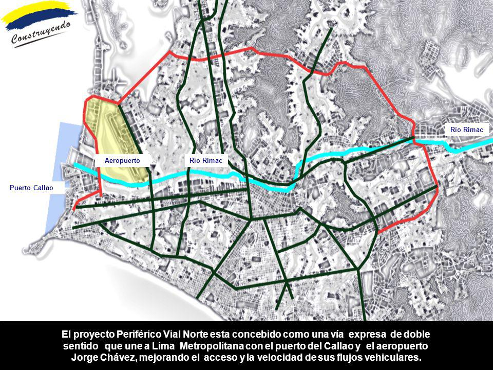 Río Rimac Aeropuerto. Río Rimac. Puerto Callao. El proyecto Periférico Vial Norte esta concebido como una vía expresa de doble.