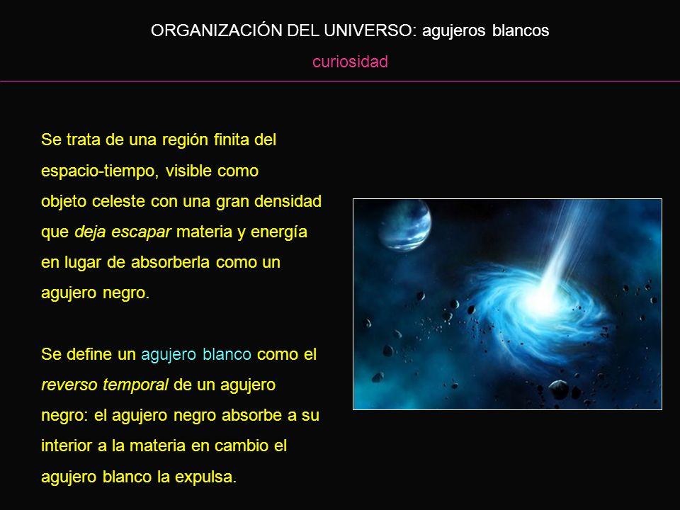 ORGANIZACIÓN DEL UNIVERSO: agujeros blancos