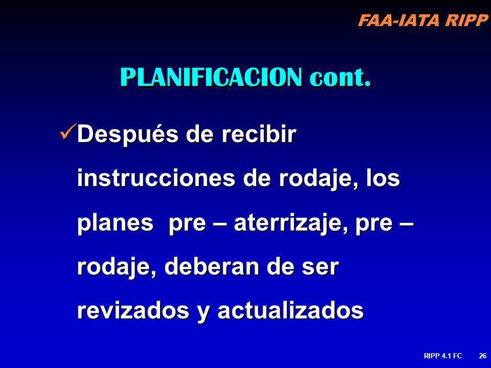 PLANIFICACION cont. Después de recibir instrucciones de rodaje, los planes pre – aterrizaje, pre – rodaje, deberan de ser revizados y actualizados.