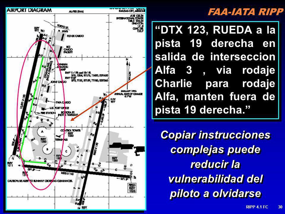 DTX 123, RUEDA a la pista 19 derecha en salida de interseccion Alfa 3 , via rodaje Charlie para rodaje Alfa, manten fuera de pista 19 derecha.