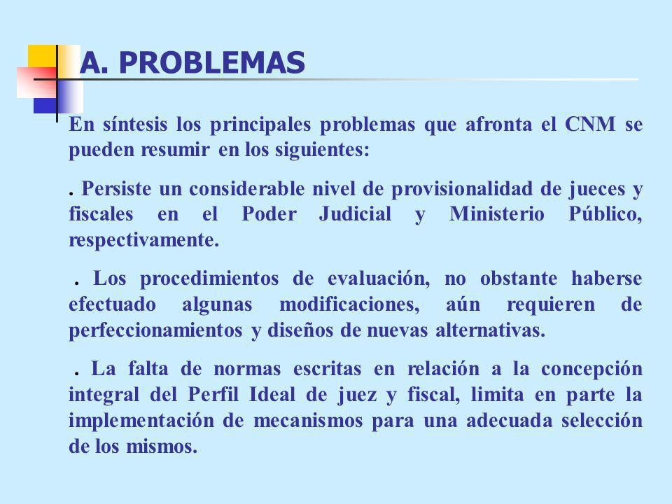 A. PROBLEMAS En síntesis los principales problemas que afronta el CNM se pueden resumir en los siguientes:
