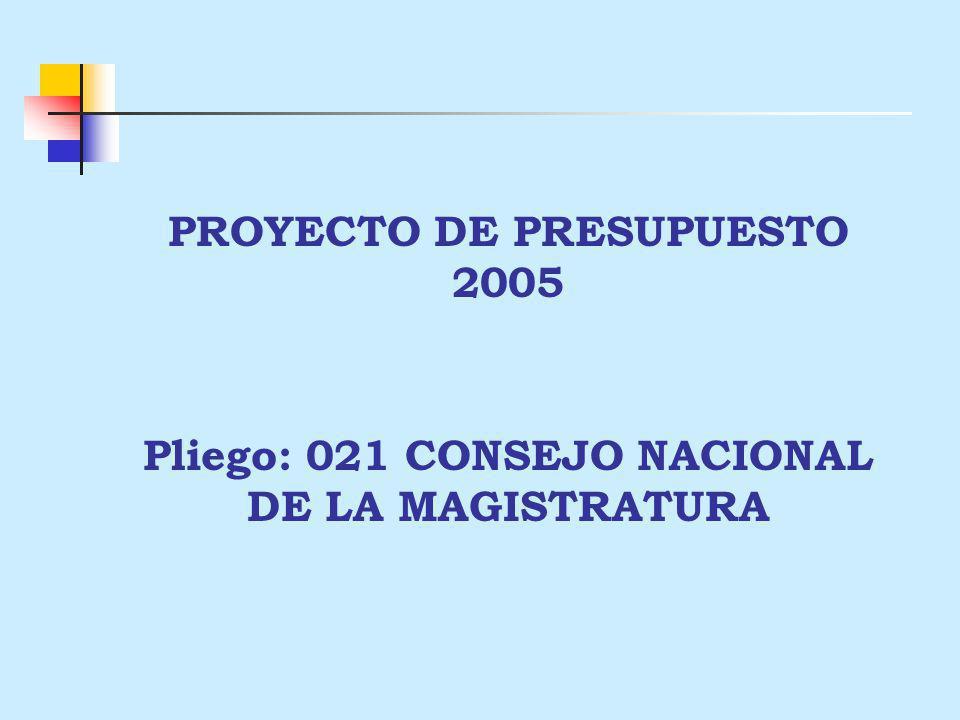 PROYECTO DE PRESUPUESTO 2005