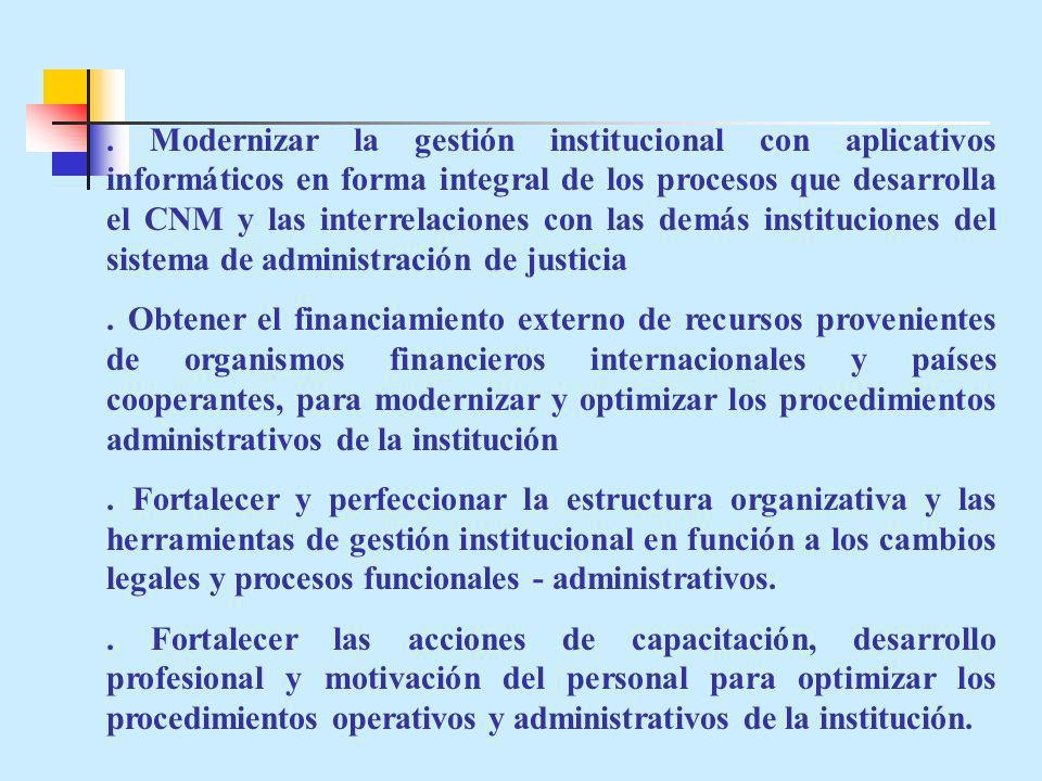 . Modernizar la gestión institucional con aplicativos informáticos en forma integral de los procesos que desarrolla el CNM y las interrelaciones con las demás instituciones del sistema de administración de justicia