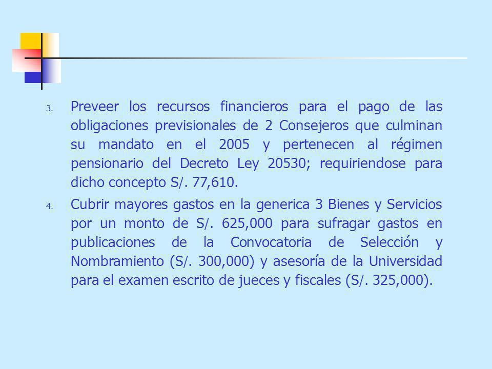 Preveer los recursos financieros para el pago de las obligaciones previsionales de 2 Consejeros que culminan su mandato en el 2005 y pertenecen al régimen pensionario del Decreto Ley 20530; requiriendose para dicho concepto S/. 77,610.