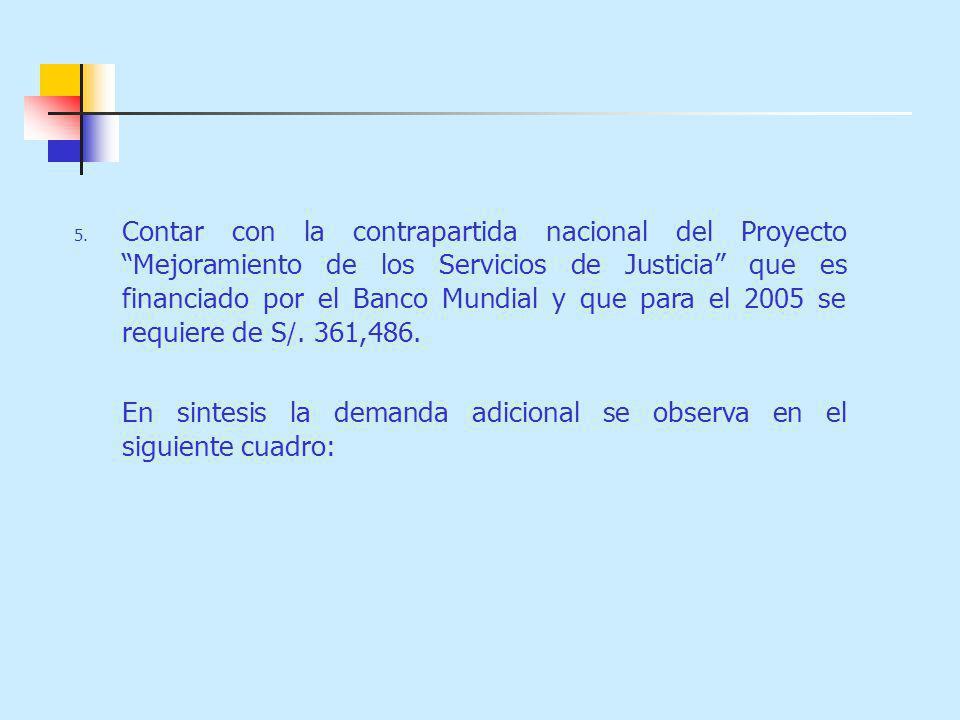 Contar con la contrapartida nacional del Proyecto Mejoramiento de los Servicios de Justicia que es financiado por el Banco Mundial y que para el 2005 se requiere de S/. 361,486.