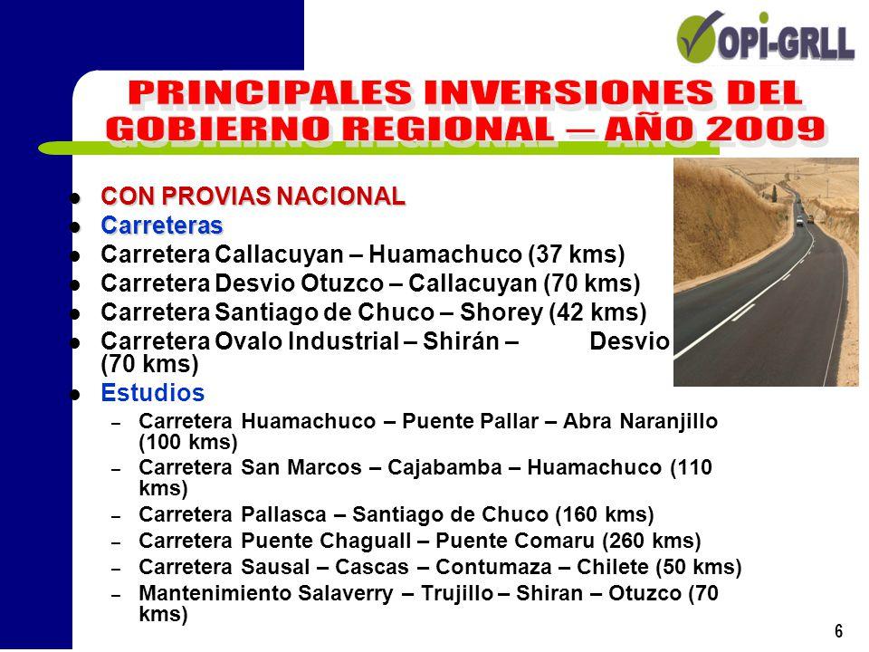 PRINCIPALES INVERSIONES DEL GOBIERNO REGIONAL – AÑO 2009