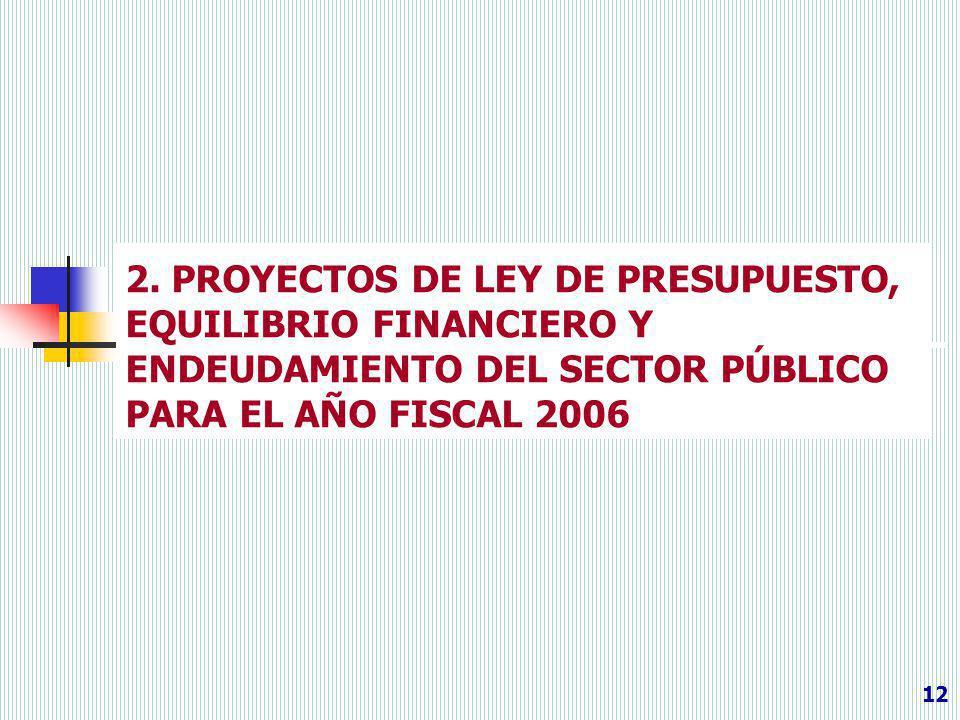 2. PROYECTOS DE LEY DE PRESUPUESTO, EQUILIBRIO FINANCIERO Y ENDEUDAMIENTO DEL SECTOR PÚBLICO PARA EL AÑO FISCAL 2006